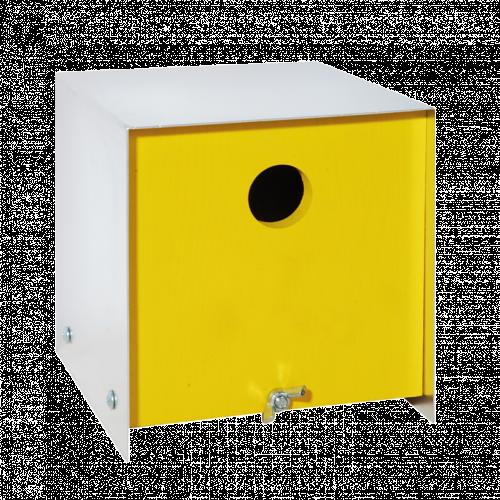 Box hout vogelhuis geel